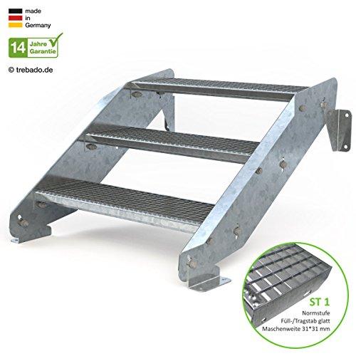 Außentreppe 3 Stufen 80 cm Laufbreite - ohne Geländer - Anstellhöhe variabel von 42 cm bis 64 cm - Gitterroststufe ST1 - feuerverzinkte Stahltreppe mit 800 mm Stufenlänge als montagefertiger Bausatz