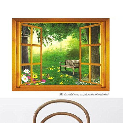 3D False Window Retro Windowsill Green Leaves Flowers Chair Wall Sticker Paper Home Decal Removable Wall Vinyl Living Room Bedroom PVC Art Picture Murals Waterproof DIY Stick for Adults Teems Childres Kids Nursery Baby by fashionbeautybuy1