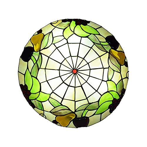 Lámpara de Techo Estilo Tiffany LED Retro, Plafón Techo LED para Dormitorio Sala de Estar Vintage E27 con Pantalla Redonda de Vitrales, Lámpara Colgante para Comedor, Cocina, Pasillo,40cm