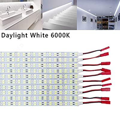 ICIH (Pack-10) Aluminum DC12V 9W SMD5630 Double Row 84LED 0.5M/20inches Rigid Hard LED Strip Light Daylight White 6000K Super Bright Led Bar