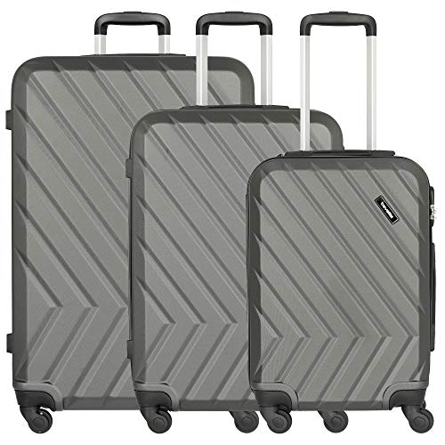 QUICK Kofferset, 4-Rad Trolley L/M/S, Anthrazit, 72840-04