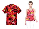 Par a Juego Hawaiian Luau Outfit Aloha Camiseta y Camiseta sin Mangas en Puesta de Sol Rojo...