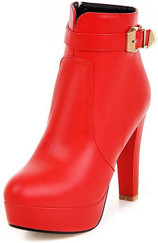SaraIris Women PU Buckle Daily Platform Zipper Anckle Booties