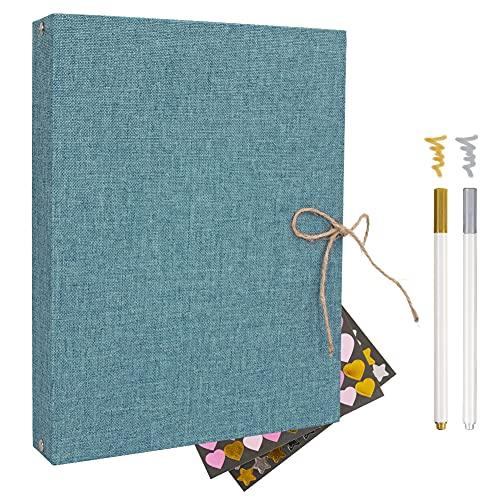 Album Scrapbook,Album de Fotos, Libro de visitas Album de Fotos Boda,con 60 páginas Negras (2pcs*Color Metálico Pluma 2pcs*Metal Pegatina)(azul)