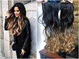 """20"""" 22"""" Thick Long Straight Wavy Curly One Piece Ombre Clip in on Hair Extensions Hairpieces 120grams (20' Curly-Natural black to honey blonde)"""