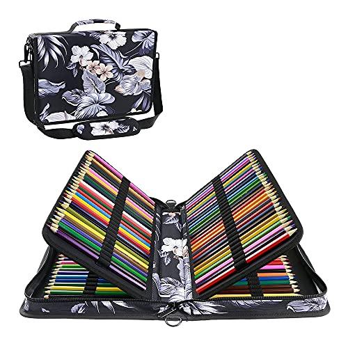YOUSHARES Estuche 160 ranuras de color lápiz caso tela de Oxford gran capacidad pluma/lápiz organizador con correa para lápices de acuarela, plumas de gel (Melberry blanco)