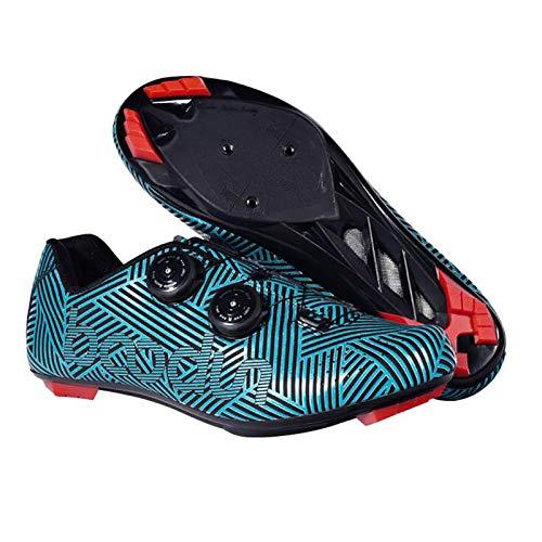 WDZJM Zapatos de Ciclismo, Zapatos de Bloqueo asistidos por el Poder de la Hebilla de Doble Perilla de Doble Perilla para Hombres, Zapatos de Ciclismo (Color : Blue, Size : 43)