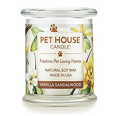 One Fur All - 100% Natural Soy Wax Candle, 20 Fragrances - Pet Odor Eliminator, 60-70 Hrs Burn Time, Non-toxic, Eco-Friendly Reusable Glass Jar Scented Candles – Pet House Candle, Vanilla Sandalwood