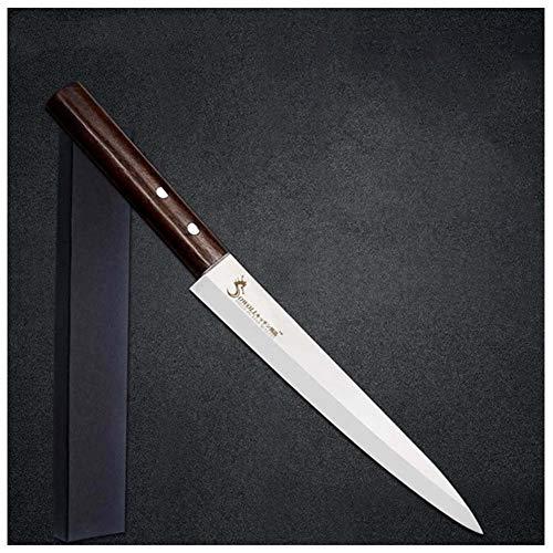 Edelstahl Left Hand Sashimi Fischmesser Japanische Art Sushi Fleisch scharfe Klinge Farbe Holz Griff Messer Kochen (Color : F.Right H With Box)