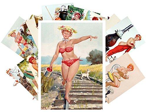 Pinup Postcard Pack 24pcs Hilda Chubby Sexy Redhead Pinup Girl Vintage Illustration