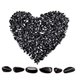 Twdrer 2lb/950g Small Natural Black Obsidian Tumbled Chips Crushed Stone Irregular Shaped Quartz Rock Healing Reiki Crystal Gemstone for Jewelry Making Garden Aquarium Vase Plant Decoration(Black)