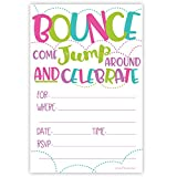 Girl Bounce House or Jumping Party Invitations (20 Count) With Envelopes - Jump Party Invites