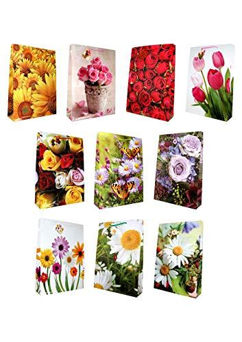 10 Geschenktüten jumbo Blumen 44 x 32 x 10 cm Geschenktaschen Geschenkbeutel Taunus Grußkarten Verlag 99-9012
