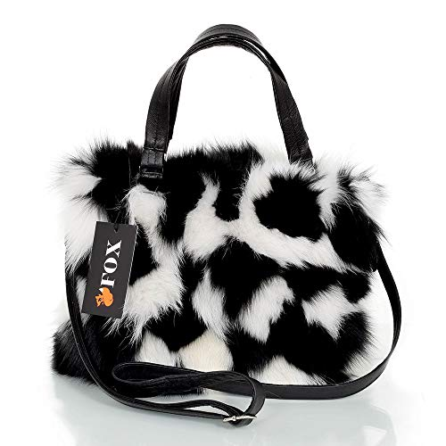FOX FASHION Damen Handtasche mit Reißverschluss aus weiß-schwarz Fuchs Fell Pelztasche Handtasche Fuchs Fell Pelz Fuchspelz Tasche Echtfell Felltasche Echt
