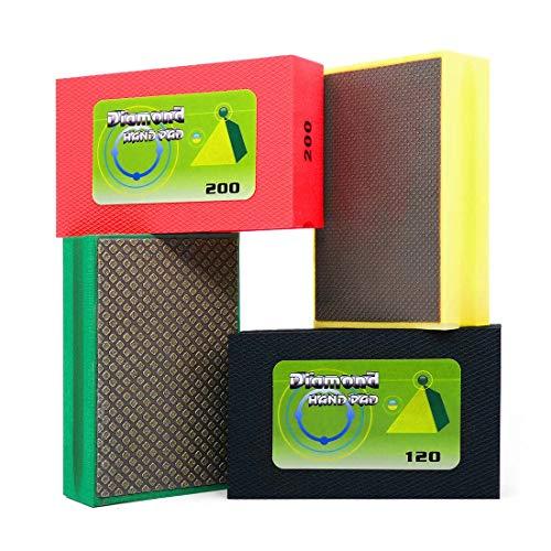Diamond Hand Polishing Pads 4-Pcs Sanding Blocks for Glass Ceramics Concrete Granite Smoothing Polishing