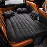 Car Air Mattress Travel Inflatable Back Seat Air Bed Cushion with Auto Pump and Two Pillows, Portable Camping Vacation Rest Sleeping Pad Fits Universal SUV Truck Minivan Separable Extended (Black)