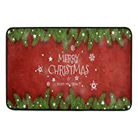 ドアマット3D印刷エリアマットクリスマスツリーマットインチスノーフレークホワイトエントランスマットウェルカムバスルームマットリビングルームラグマットエリアマットクリスマスイブハロウィーン