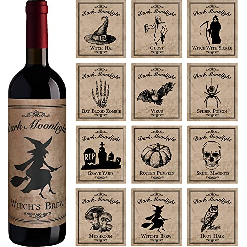 Perkoop 12 Pieces Halloween Wine Bottle Labels Halloween Beer Bottle Labels Sticker Waterproof Wine Bottle Label Stickers Vintage Bottle Label Stickers with Hat Spider Patterns for Halloween,12 Styles