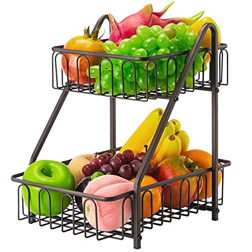 Estante de frutas Frutero de 2 Pisos Cesta de Frutas metálica para mostrador y Organizador Cocina Cesta Bronce