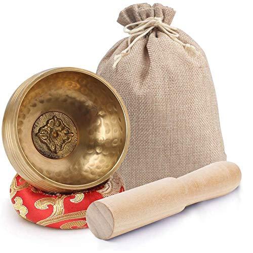 Koogel Tibetische Klangschale Set, 8cm goldene Klangtherapie Singing Bowl mit Klöppel und Kissen für Entspannung Angstreduktion Yoga