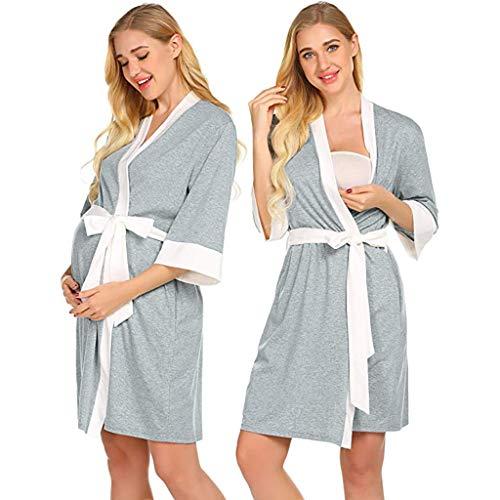 Camisón Lactancia Manga Larga Pijama Embarazada Algodón Ropa para Dormir Premamá Hospital...