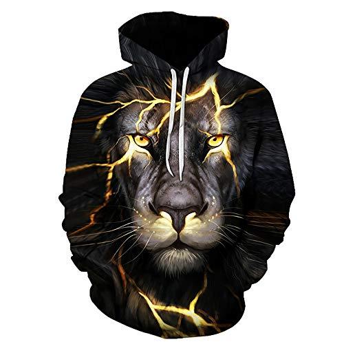 BMSYTY HAOXUF 3D-Hoodies HX1215, Langarmpullover, Unisex-Sweatshirt 3D-Kapuze für Männer und Frauen mit Lion-Design-2xl