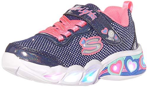 Skechers Sweetheart Lights - Shimmer S Sneaker, Marineblaues glitzerndes Netzgewebe, Neon-Pink mit Mehreren Zierelementen, 35 EU