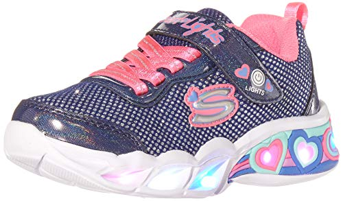 Skechers Sweetheart Lights-Shimmer S Sneaker, Marineblaues glitzerndes Netzgewebe, Neon-Pink mit Mehreren Zierelementen, 32 EU