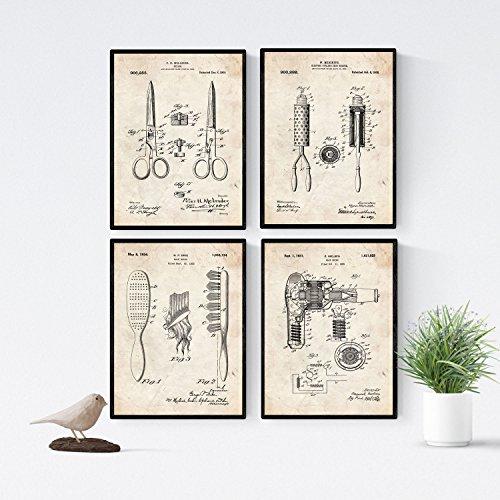 Nacnic Friseur Patent Poster 4-er Set. Vintage Stil Wanddekoration Abbildung von Haarbürste und Haartrockner. Verschiedene geometrische Alte Erfindungen Bilder ohne Rahmen. Größe A4.