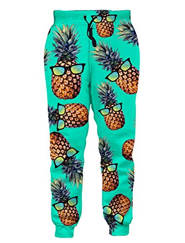 RAISEVERN Jogger Pants Green Glasses Pineapple Pattern Casual 3D Printed Sweatpants Active Gym Trouser with Pocket for Men Women