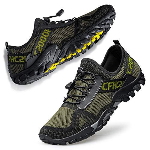 Ritiriko Damen Herren Barfußschuhe Traillaufschuhe Outdoor Trekkingschuhe Atmungsaktiv Sneakers Fitnessschuhe Armee Grün 44