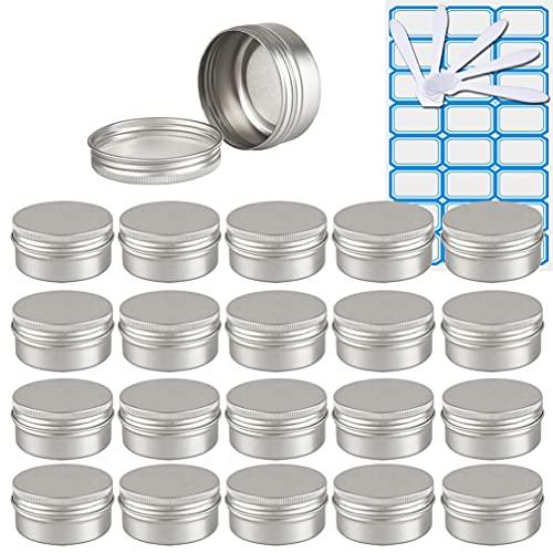 ZEOABSY30 Piezas Tarros de Aluminio con Tapa Rosca 50ml,Plata Tarros de Aluminio Vacíos Redondo para Contenedor De Cosméticos CremasCaja de almacenaje con5 Espátula y 2Etiqueta