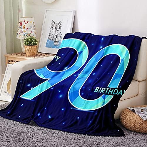 90 Manta para Sofa 3D Feliz cumpleaños Reversible Manta Estampata Cálida y Suave Manta de Oficina Mantas sólida para Cama sofá 180x200cm