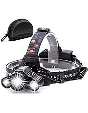 Cobiz Head Torch Light Oplaadbare - 6000 Lumen Xtreme Heldere IPX4 Waterdichte Zoomable 18650 Oplaadbare Led Koplampen Zaklamp, Hoofd Lichten voor Camping (380)