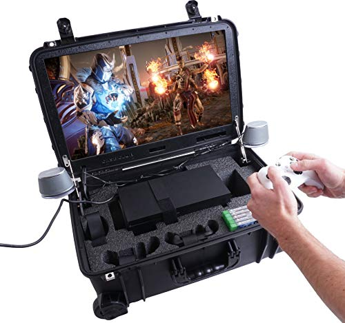 """Case Club Waterproof Xbox Series X or S Portable Gaming Station with Built-in 24"""" 1080p Monitor, Cooling Fans, & Speakers. Fits Console, Controllers, & Games, which are NOT Included"""