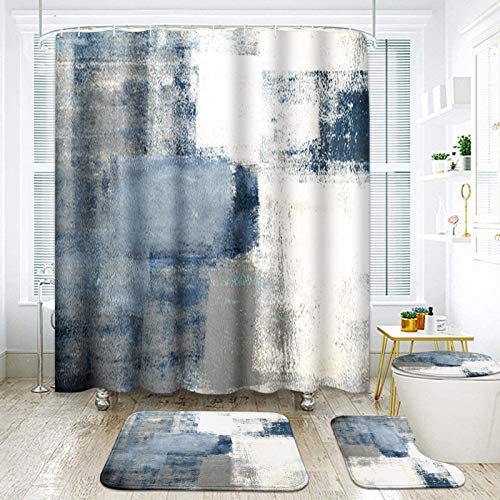 """ArtSocket 4 Pcs Shower Curtain Set Blue Grey Abstract Painting Gray Vintage Retro with Non-Slip Rugs Toilet Lid Cover and Bath Mat Bathroom Decor Set 72"""" x 72"""""""