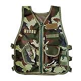 Freebily Chaleco Táctico Militar para Niños Niñas Chalecos de Camuflaje Ejército Chaleco de Asalto Bolsillos Niños Ropa Disfaz Deporte al Aire Libre Verde 8-10 años