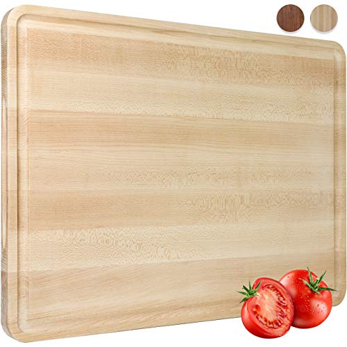 AZRHOM Extra Large Maple Wood Cutting Board for Kitchen 20x15 Cheese Charcuterie Board (Gift Box Included) Extra Thick Reversible Butcher Block Chopping Board with Handles and Juice Groove