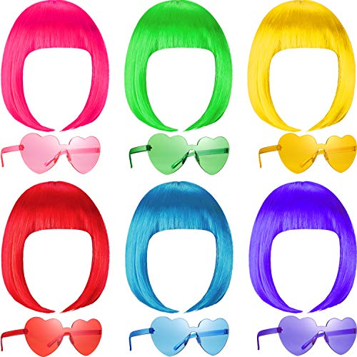 12 Pieces Party Wigs and Sunglass Set, Neon Short Bob Hair Wigs Colorful Cosplay Costume Wig Heart Shaped Sunglasses for Neon Party Favors