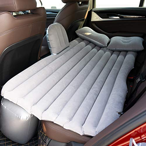 Car Air Mattress Travel Inflatable Back Seat Air Bed Cushion with Auto Pump and Two Pillows, Portable Camping Vacation Rest Sleeping Pad Fits Universal SUV Truck Minivan Separable Extended (Gray)