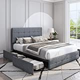 Furchen Upholstered Platform Bed Frame with 4 Storage Drawers, Adjustable High Headboard with Button Tufted Design, Wooden Slat Support, No Box Spring Needed, Easy Assembly, Full Size, Grey