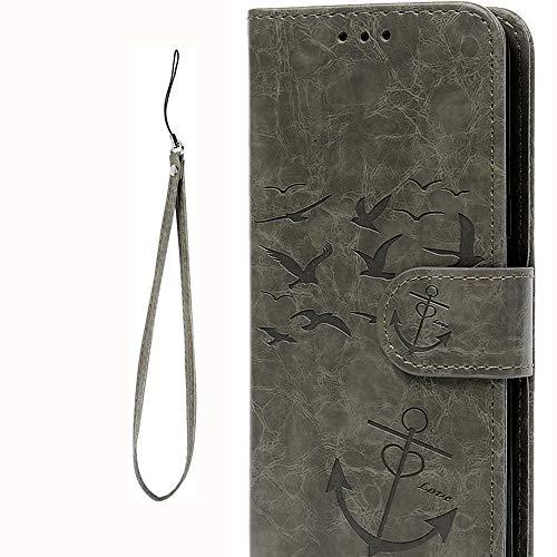 Flip Handyhülle für Samsung Galaxy S8 PU Leder Wallet Cover Stand Card Slot Tasche TPU 2 in 1 Combo Karteneinschub Magnetverschluß Kratzfestes (Grau Vogel Anker)