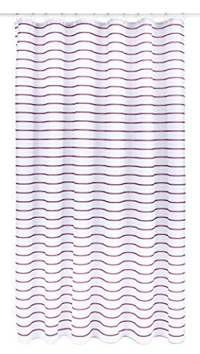Croydex Pflaume Nadelstreifen Textil-Duschvorhang mit Hygiene 'N' Clean, weiß/Pflaume