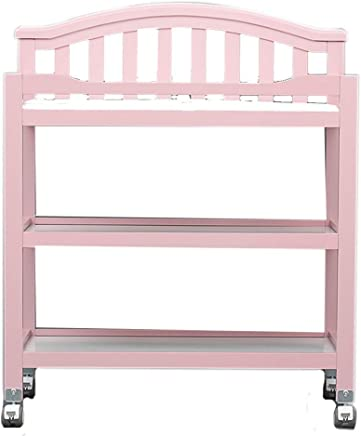 Changing Table Wood Baby Changing Table Dresser Unit Diaper Station Adjustable Newborn Nursery Organization Baby Care Station  Color Pink
