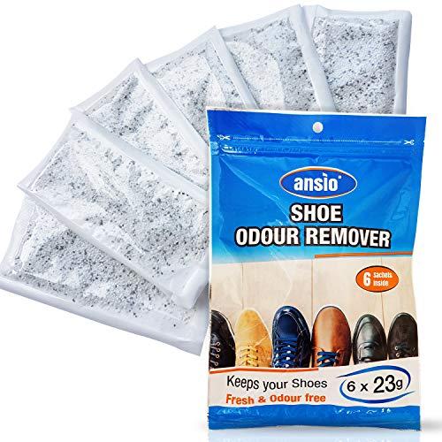 ANSIO Luftentfeuchter für Schuhe, Geruchsentferner und -beeitiger, Lufterfrischer, Luftreinigung, Tasche für Schuhe, Steuern stinkende Schuhe und Schuhe - 23 g x 6 Stück