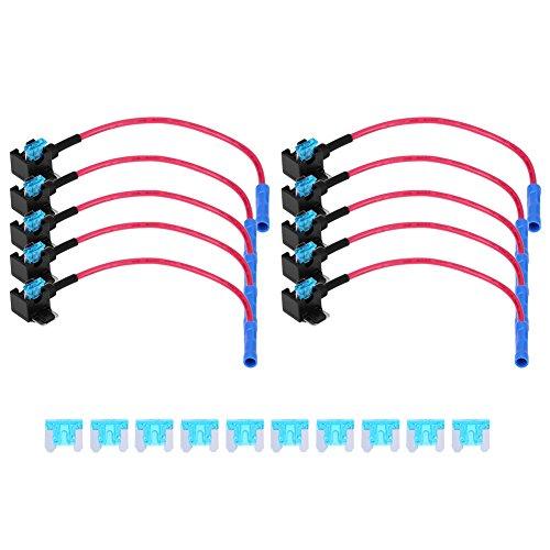 10pcs 15A Adaptador para Grifo de Fusible de Circuito para Coche, Portafusibles de Hoja (Micro Mini)