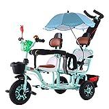 ZHENAI Cochecito De Bebé Doble Triciclo Doble para Niños Verano Ligero Transpirable Sillas para Niños Pequeños Cochecitos Dobles para Niños Desde El 12 Mes -6 Años, Verde