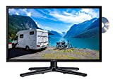 Reflexion LDDW-24 Wide-Screen LED-Fernseher (24 Zoll) für Wohnmobile mit DVB-T2 HD, DVD-Player, Triple-Tuner und 12 Volt Kfz-Adapter (12 V / 24 V, Full HD, HDMI, USB, EPG, CI+, DVB-T...