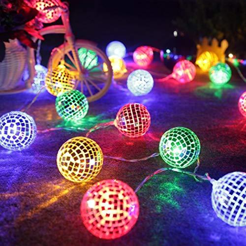 Lichterkette,FeiliandaJJ 1.5/2.2/3M 10/20/20pc Spiegelkugel Licht LED Lichterkette Innen/Außen Deko Hochzeit Party Halloween Weihnachten Haus Deko String Lights 2xAA Batterie (A, 1.5M(10PC))