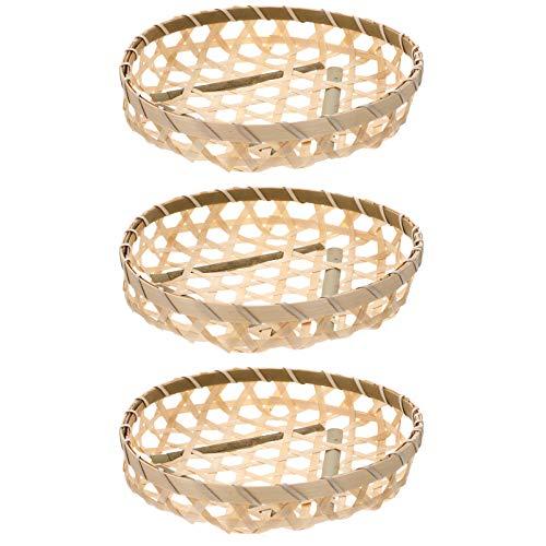 Hemoton 3PCS Bamboo Woven Basket Flat Wicker Round Egg Basket Natural Handmade Food Vegetables Fruits Storage Shallow Tray Organizer Holder Bowl for Home Kitchen